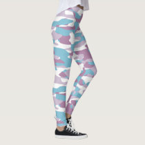 Teal Blue Pink Purple White Camouflage Pattern Leggings