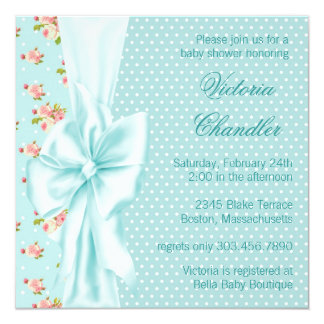 Teal Blue Pink Rose Baby Girl Shower 5.25x5.25 Square Paper Invitation Card