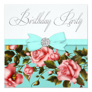 Teal Blue Pink Rose Birthday Party Card