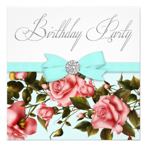 Teal Blue Pink Rose Birthday Party Invitations  Zazzle