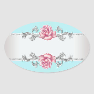 Teal Blue Pink Rose Silver Envelope Seal Sticker