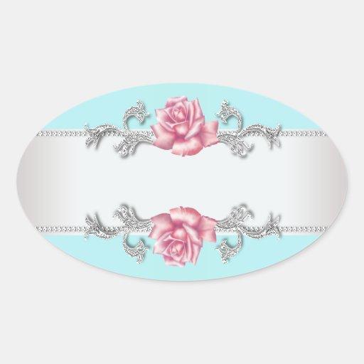 Teal Blue Pink Rose Silver Envelope Seal Sticker