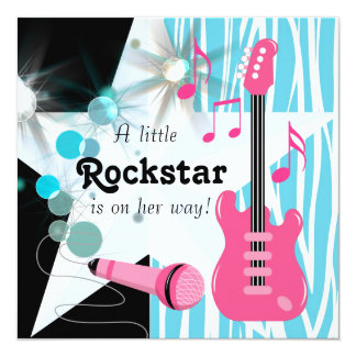 Teal Blue Pink Zebra Rockstar Baby Girl Shower 5.25x5.25 Square Paper Invitation Card