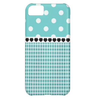 Teal Blue Plaid and Polka Dots V3 iPhone 5C Cover