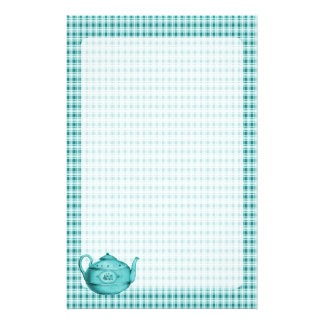 Teal Blue Plaid and Teapot Stationery
