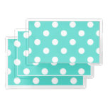 Teal Blue Polka Dot Pattern Acrylic Tray