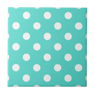 Teal Blue Polka Dot Pattern Ceramic Tile