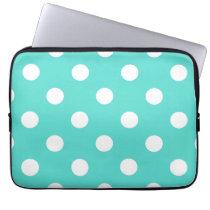 Teal Blue Polka Dot Pattern Laptop Sleeve