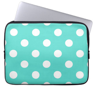 Teal Blue Polka Dot Pattern Laptop Sleeve