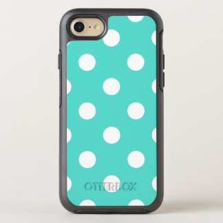 Teal Blue Polka Dot Pattern OtterBox Symmetry iPhone 8/7 Case