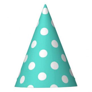 Teal Blue Polka Dot Pattern Party Hat