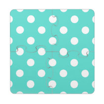 Teal Blue Polka Dot Pattern Puzzle Coaster