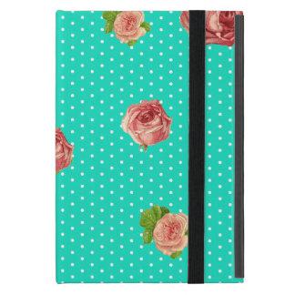 Teal Blue Polka dot rose pattern iPad Mini Cover