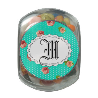 Teal Blue Polka dot rose pattern Jelly Belly Candy Jars