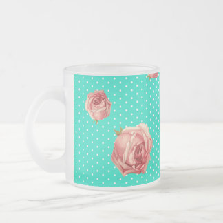 Teal Blue Polka dot rose pattern 10 Oz Frosted Glass Coffee Mug