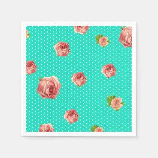 Teal Blue Polka dot rose pattern Disposable Napkin