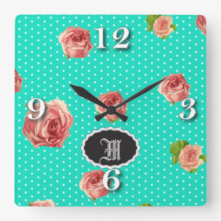 Teal Blue Polka dot rose pattern Square Wall Clock