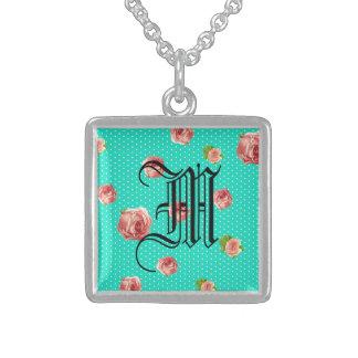 Teal Blue Polka dot rose pattern Sterling Silver Necklace