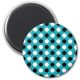 Teal Blue Polka Dots 2 Inch Round Magnet