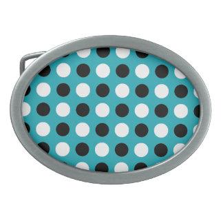 Teal Blue Polka Dots Belt Buckle
