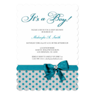 Teal Blue Polka-Dots It's a Boy Baby Shower Invitation