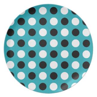 Teal Blue Polka Dots Dinner Plate