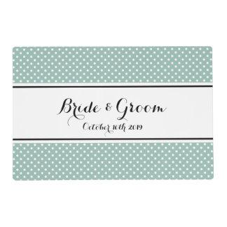 Teal blue polka dots print wedding placemat laminated place mat