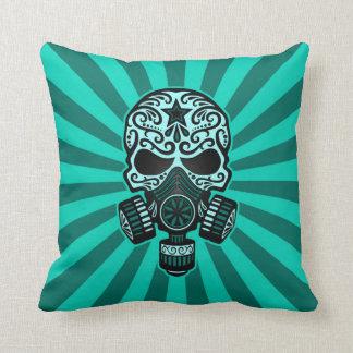 Teal Blue Post Apocalyptic Sugar Skull Throw Pillows