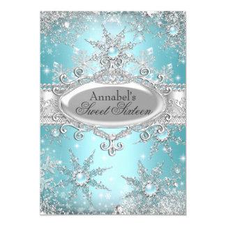 Teal Blue Princess Winter Wonderland Sweet 16 5x7 Paper Invitation Card