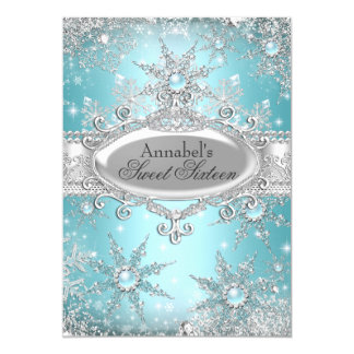 Teal Blue Princess Winter Wonderland Sweet 16 Card