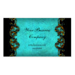 Teal Blue Profile Exotic Gold Black Elegant Classy Business Card Template