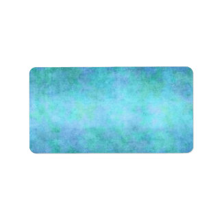 Teal Blue, Purple, Aqua, and Violet Watercolor Label