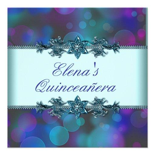 Teal Blue Purple Bubbles Quinceanera Personalized Invites