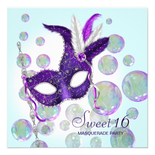 Teal Blue Purple Bubbles Sweet Sixteen Masquerade Announcement