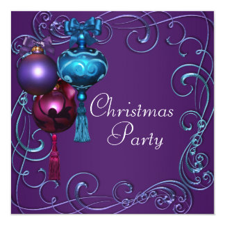 Teal Blue Purple Christmas Party Invitations