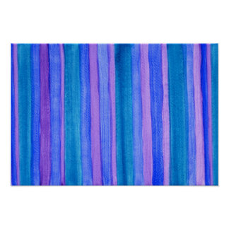 Teal, Blue, Purple Painted Stripes Poster