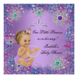 Teal Blue Purple Pink Princess Baby Shower Blonde Poster