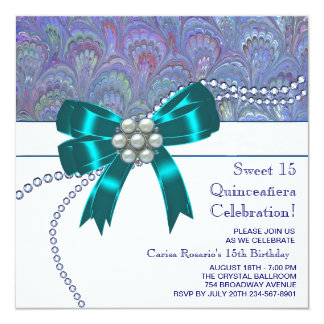 Teal Blue Purple Quinceanera Personalized Invitations