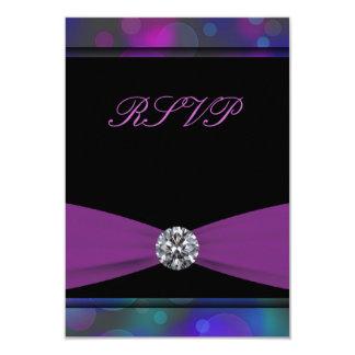 Teal Blue Purple Quinceanera RSVP 3.5x5 Paper Invitation Card