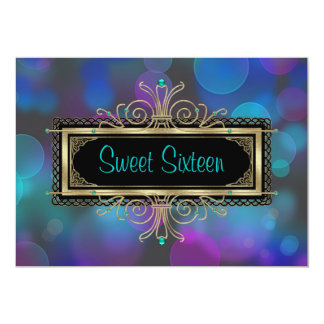Teal Blue Purple Sweet Sixteen Birthday Party 5x7 Paper Invitation Card