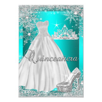 Teal Blue Quinceanera 15th Birthday Party 3.5x5 Paper Invitation Card