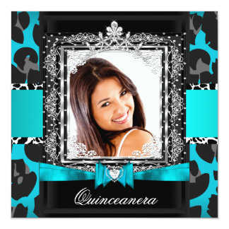 Teal Blue Quinceanera 15th Party Photo Custom Announcement