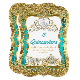 Teal Blue Quinceanera Magical Tiara Gold 2 Card