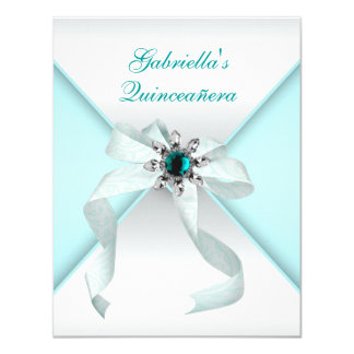 Teal Blue Quinceanera Party Personalized Announcements