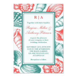 Teal Blue Red Seashells Beach Wedding Invitation