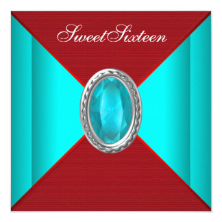 Teal Blue Red Sweet sixteen Birthday Party Card