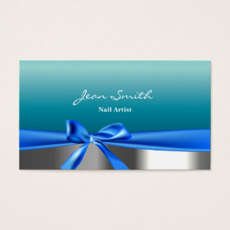 Teal Blue Ribbon Nail Technician Business Card