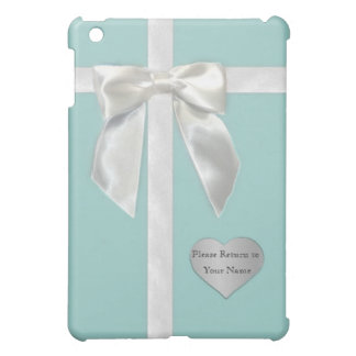 """Teal Blue Ribbon with """"Please Return to"""" iPad Mini Cases"""