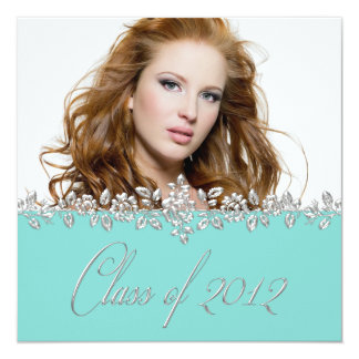 Teal Blue Rose Girls Photo Graduation Announcement
