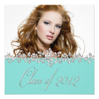 Teal Blue Rose Girls Photo Graduation Announcement
